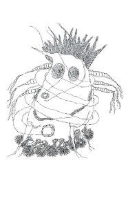 Diese Skizze von Alois Schild zeigt ein kleines Männchen mit mehreren Armen