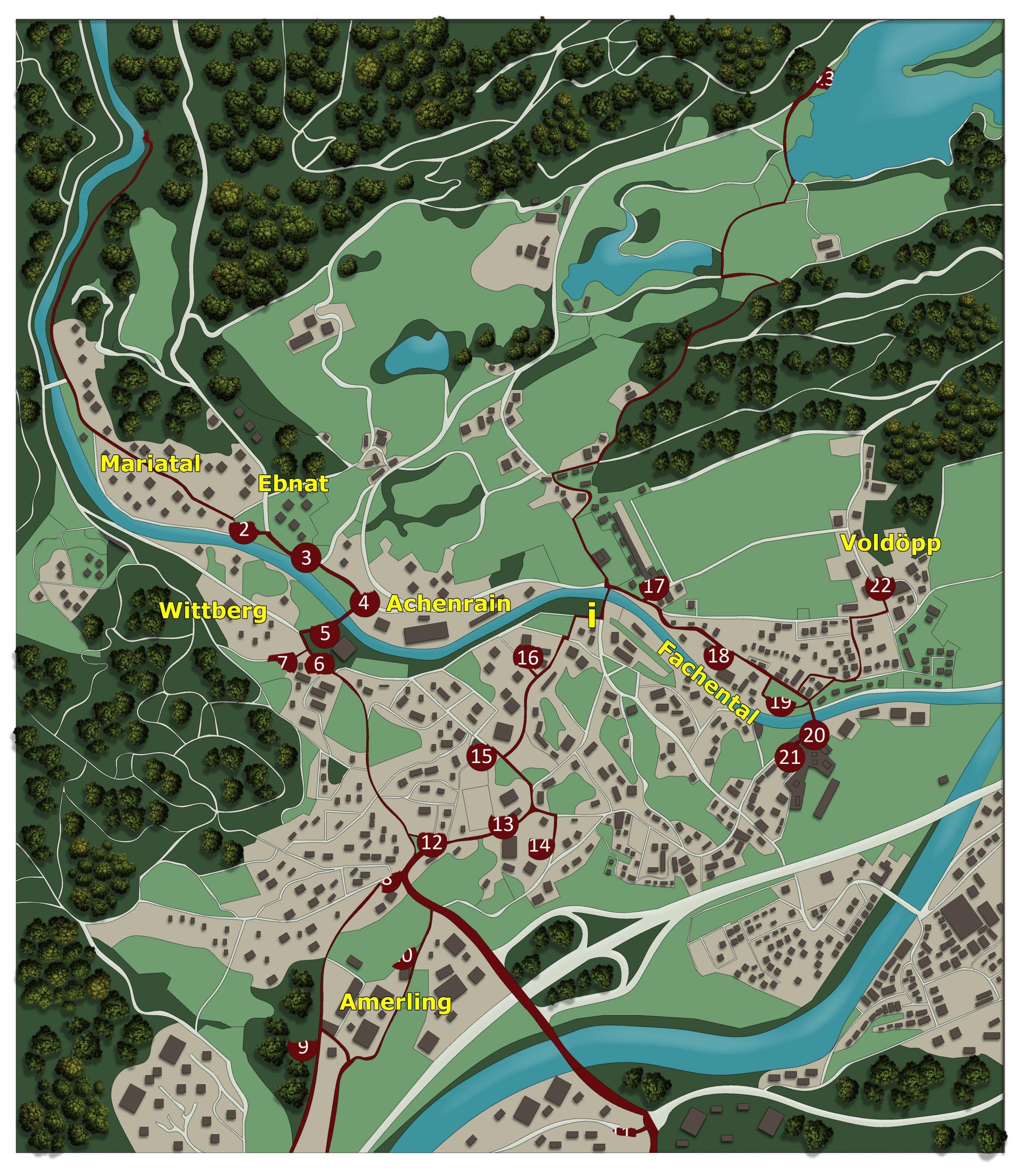 Wanderkarte mit allen Stationen für den Kunstwanderweg in Kramsach Tirol